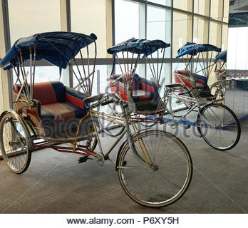 Old bike look vintage old tricycle taxi for show at baiyoke tower II floor77  bangkok thailand 14 may 2018 - Stock Photo