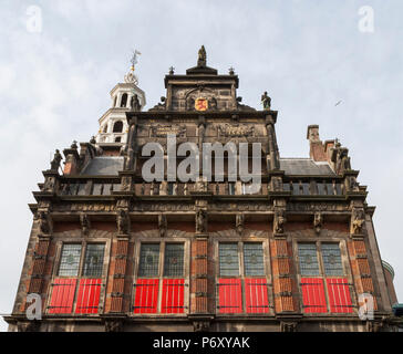 Façade details of the Old City Hall on the Groenmarkt, seen from the Nieuwstraat, The Hague, Netherlands - Stock Photo