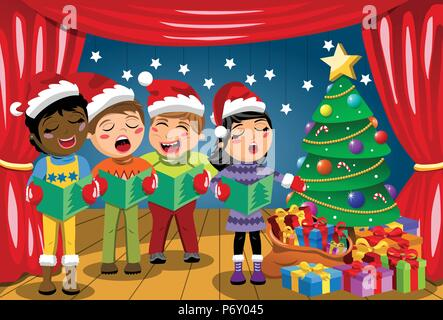 ccfe385dd859f ... Multicultural kids wearing xmas hat and singing Christmas carol at nativity  play on stage - Stock