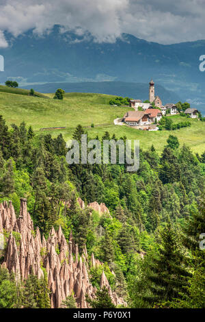 Earth pyramids, Renon - Ritten, Trentino Alto Adige - South Tyrol, Italy - Stock Photo
