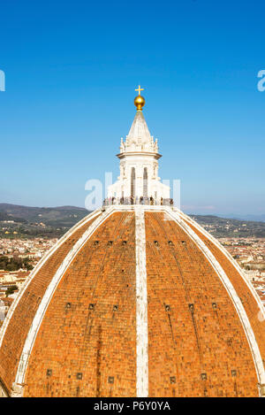 Florence, Tuscany, Italy. View of the Duomo's cupola and the city seen from the Giotto's tower. - Stock Photo