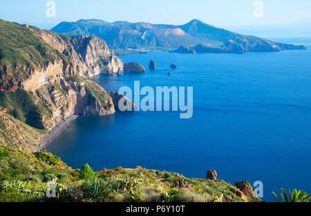 View from Belvedere Quattrocchi, Lipari, Aeolian Islands, UNESCO World Heritage Site, Sicily, Italy, Mediterranean, Europe - Stock Photo