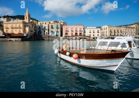 Marina Corta harbor and San Giuseppe church, Lipari Island, Aeolian Islands, UNESCO World Heritage Site, Sicily, Italy, Mediterranean, Europe - Stock Photo