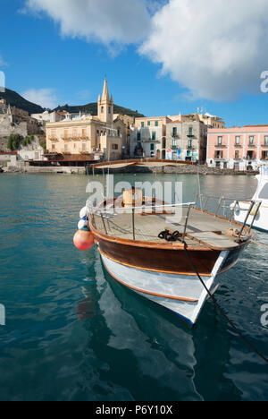 Marina Corta harbor and San Giuseppe church, Lipari Town, Lipari Island, Aeolian Islands, UNESCO World Heritage Site, Sicily, Italy, Mediterranean, Europe - Stock Photo
