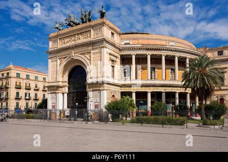 Politeama Theater, Palermo, Sicily, Italy, Europe - Stock Photo