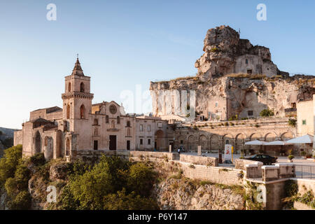 San Pietro caveoso church and Sassi di Matera (UNESCO world heritage site), Matera, Basilicata, Italy - Stock Photo