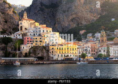 Italy, Campagnia, Amalfi Coast, Amalfi. The town of Amalfi. - Stock Photo