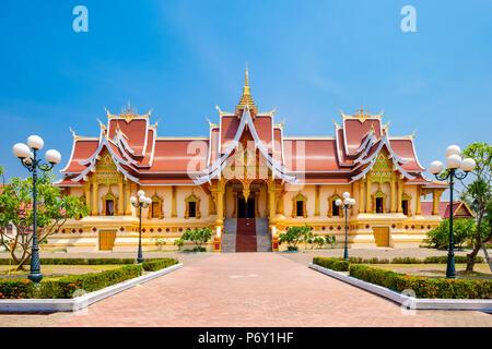 Wat Thatluang Neua, residence of supreme patriarch of Laos Buddhism, Vientiane, Laos - Stock Photo