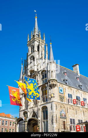 Netherlands, South Holland, Gouda. Stadhuis Gouda city hall on Markt square. - Stock Photo