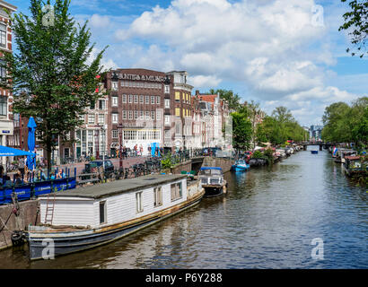 Prinsengracht Canal, Amsterdam, North Holland, The Netherlands - Stock Photo