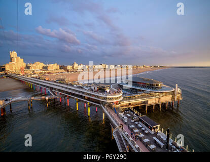 Pier in Scheveningen, elevated view, The Hague, South Holland, The Netherlands - Stock Photo