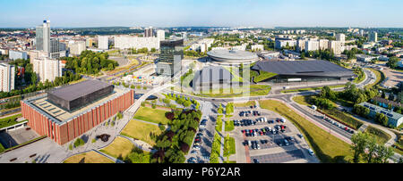 Wide aerial panorama of Katowice city center in Poland - Stock Photo