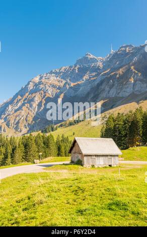 Schwägalp pass, Switzerland. Mountain hut in front of mount Säntis. - Stock Photo