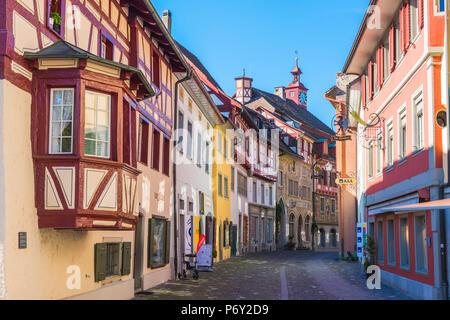 Stein am Rhein, Schaffhausen, Switzerland. Medieval old town. - Stock Photo