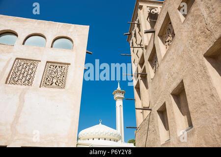 Bastakia Quarter, Bur Dubai, Dubai Creek, Dubai, United Arab Emirates - Stock Photo