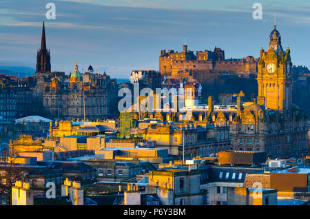 UK, Scotland, Edinburgh, Edinburgh Castle and tower of Balmoral Hotel