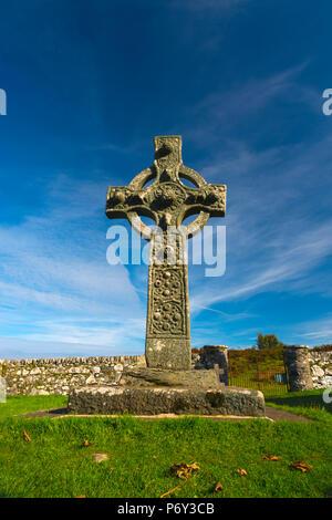 UK, Scotland, Argyll and Bute, Islay, Old Parish Church of Kildalton, The Kidalton High Cross - Stock Photo