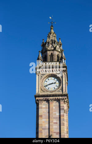 United Kingdom, Northern Ireland, Belfast, Albert Memorial Clock - Stock Photo