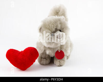 Soft plush toy with red heart on white background / stuffed dog and heart on white background / animal toy. - Stock Photo