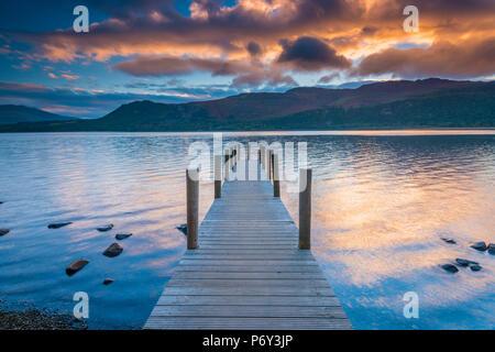 UK, England, Cumbria, Lake District, Derwentwater, High Brandelhow Landing - Stock Photo