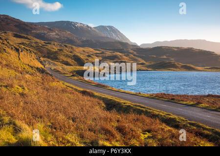 UK, Scotland, Highland, Sutherland, Lochinver, Loch Assynt - Stock Photo