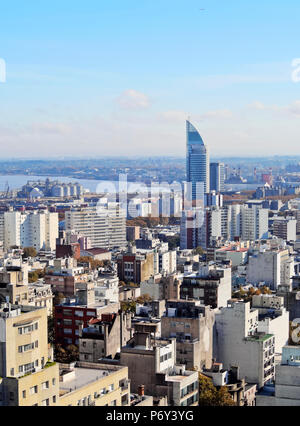 Uruguay, Montevideo, Cityscape viewed from the City Hall(Intendencia de Montevideo). - Stock Photo