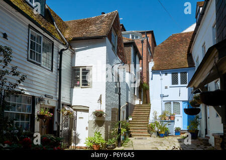 Old houses in Sinnock Square, in Hastings Old Town, East Sussex, UK - Stock Photo