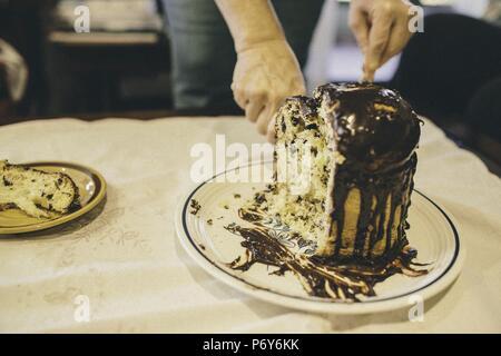 Homemade christmas panettone chocolate cake - Stock Photo