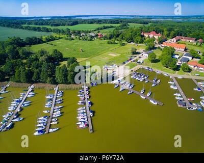 Aerial view of yachts moored in marina in Sztynort, Poland (former Steinort, East Prussia) - Stock Photo