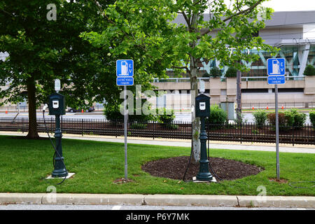 Electric vehicle charging station, Camden Yards, Baltimore, Maryland, USA - Stock Photo