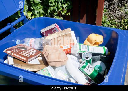Blue bin mixed recycling - Stock Photo