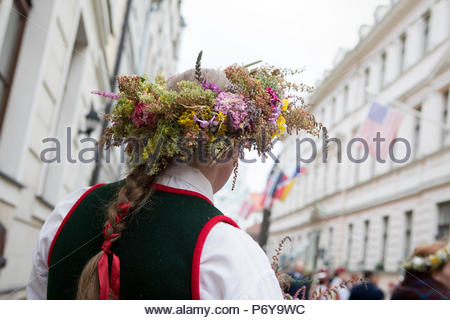 The annual Song and Dance festival takes place in Riga on the 1st week of July. In 2018, Latvia also celebrates the 100th anniversary of its birth. - Stock Photo
