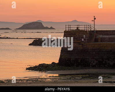 Sunset on the Firth of Forth from North Berwick Harbour, East Lothian, Scotland, United Kingdom - Stock Photo