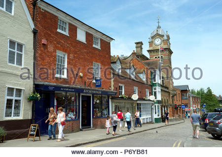 Hungerford - view in the High Street, with the Hungerford Town Hall & Corn Exchange visible. Berkshire, UK. - Stock Photo