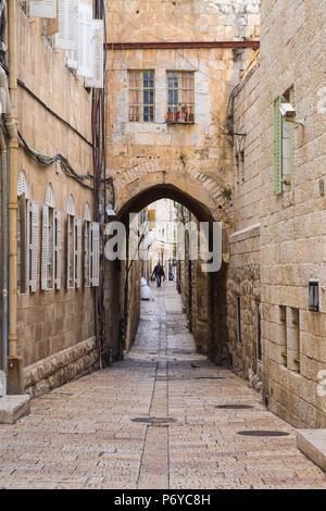 Israel, Jerusalem, Cobbled street in the Jewish Quarter - Stock Photo