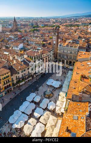 Piazza delle Erbe, Verona, Veneto, Italy - Stock Photo