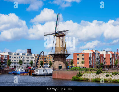 Middenkous Port and Windmill in Delfshaven, Rotterdam, South Holland, The Netherlands - Stock Photo