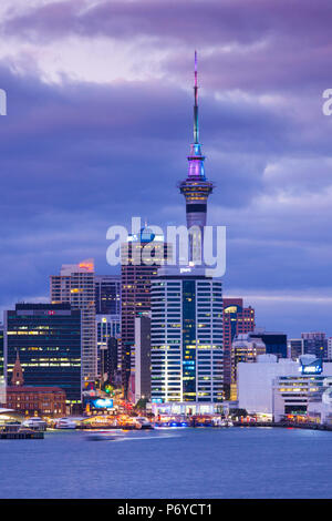 New Zealand, North Island, Auckland, skyline view from Devonport, dawn - Stock Photo