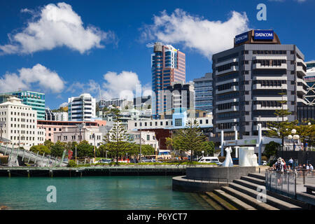 New Zealand, North Island, Wellington, skyline and waterfront buildings - Stock Photo