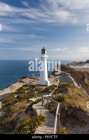 New Zealand, North Island, Castlepoint, Castlepoint Lighthouse - Stock Photo