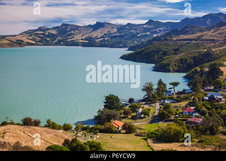 New Zealand, South Island, Christchurch-Rapaki, view of Rapaki Bay - Stock Photo