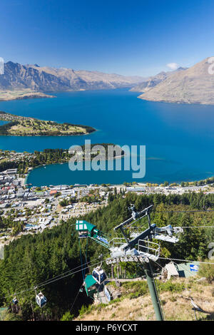 New Zealand, South Island, Otago, Queenstown, elevated town view from the Skyline Gondola deck - Stock Photo