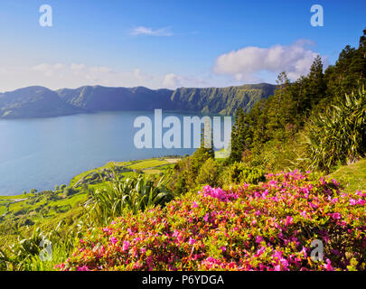 Portugal, Azores, Sao Miguel, municipality of Ponta Delgada, Sete Cidades, elevated view of the Lagoa das Sete Cidades. - Stock Photo