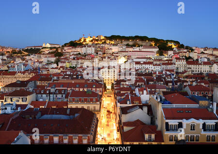 The historic centre (Baixa) and Sao Jorge castle at twilight. Lisbon, Portugal - Stock Photo