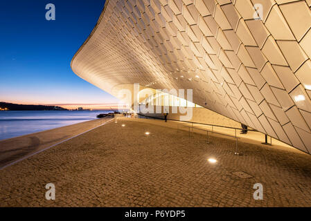 The MAAT (Museum of Art, Architecture and Technology), bordering the Tagus river, was designed by British architect Amanda Levete. Lisbon, Portugal - Stock Photo