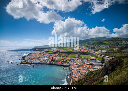 Portugal, Azores, Faial Island, Horta, the old harbor of Porto Pim - Stock Photo
