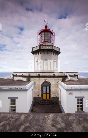 Portugal, Azores, Sao Miguel Island, Nordeste, Ponta do Arnel Lighthouse - Stock Photo