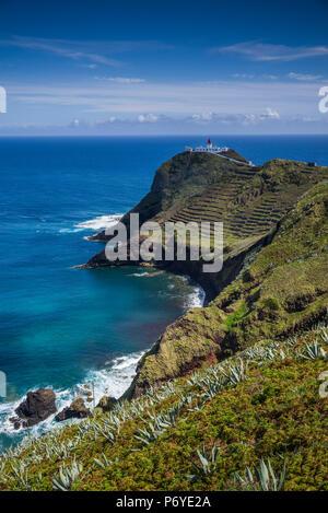 Portugal, Azores, Santa Maria Island, Ponta do Castelo, Ponta do Castelo Lighthouse - Stock Photo