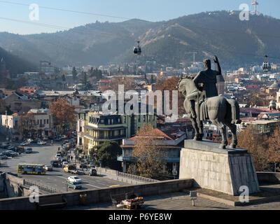King Vakhtang Gorgasali statue, Tbilisi old town, Georgia - Stock Photo
