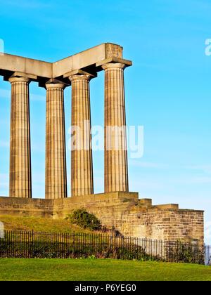 UK, Scotland, Lothian, Edinburgh, Calton Hill, View of the National Monument of Scotland. - Stock Photo
